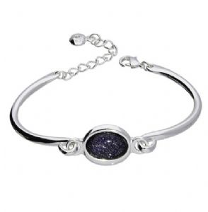 Blue Goldstone Stone Cuff / Bangle / Bracelet